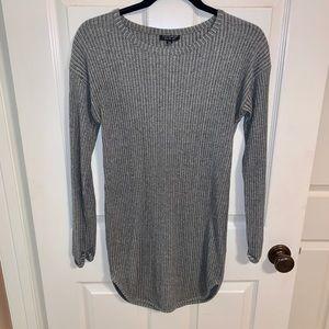 Topshop Ribbed Bodycon Long Sleeve Dress Grey